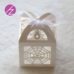 $enCountryForm.capitalKeyWord Australia - 50PCS  lot Sculpture Wedding Invitation Candy Boxes Design With Ribbon A Spider's Web Pattern Grand Events Gifts Party