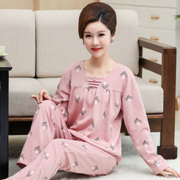Wholesale pajamas suit xl online – YF521 cotton long sleeved spring and autumn pajamas middle aged mother large size home service suit