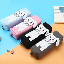 $enCountryForm.capitalKeyWord Australia - 1pc Cute Canvas Dog Pencil Case Purse Storage Pouch School Stationery Pencilcase Pen Bag Wallet Woman Makeup Cosmetic Handbag