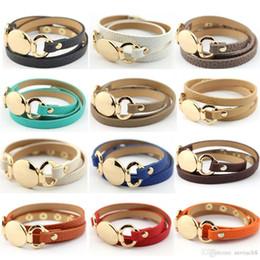 Blank cuff Bracelets online shopping - 6 Colors New Style Monogram Leather Bracelet Hottest Sale Trendy With Blank Disc Multiple Wrap Leather Bracelet