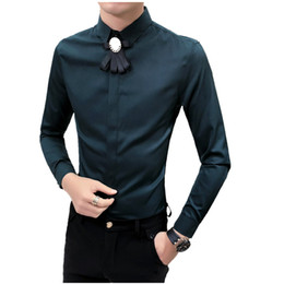 $enCountryForm.capitalKeyWord Australia - Shirt Men Long Sleeve Tuxedo Shirts Man Camisas Hombre Camisa Social Dress Shirt Bow Design Chemise Slim Fit Korean Blouse 2019