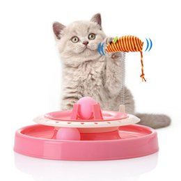 Turntable Player Australia - Cat Toy Plate Toy For Cat Record Player Pet Interactive Toys Double Turntable Pet Puzzle Playground Track
