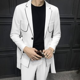 Korean Classic Suits Australia - Spring Long Sleeve Belt Decoration Man's Suit Korean Self-cultivation Weave Bring Full Dress Suits Men Suits Two-piece suit