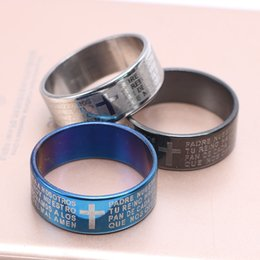 tattoos crosses Canada - Scripture Cross Bible Text Jesus Tattoo Men Ring Rings For Women Stainless Steel Couple Rings Jewelry Valentine Gift
