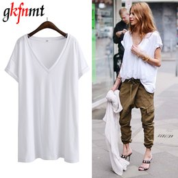 $enCountryForm.capitalKeyWord Australia - Gkfnmt Summer T Shirt Women 2018 Sexy V-neck Solid Color Tops Short Sleeves New Loose Plus Size Black White Gray Tee Shirt FemmeY19042002