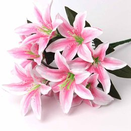 $enCountryForm.capitalKeyWord NZ - Artificial Flowers Wedding Decoration Artificial White Lily Bridal Flowers Bouquets Fake Flowers Plants Home Party Decor