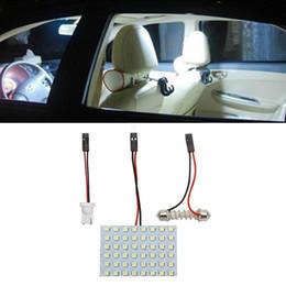 $enCountryForm.capitalKeyWord Australia - 12 36 48 LED Panel Super White Car Reading Lamp 1210 smd Auto Dome Interior Bulb Roof Light with T10 Adapter Festoon Base