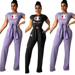 Chinese  Women Champions Letter Tracksuit Bow Tie T-Shirt Tops + Wide Leg Pants Trousers 2PCS Set Summer Outfits T Shirt Sportswear Suit Clothing manufacturers