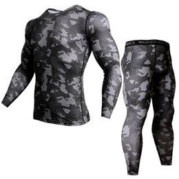 $enCountryForm.capitalKeyWord Australia - Men Running Sports Compression Shirts Jogging Sportswear Sets Long T Shirt And Leggings Suits Male Gym Fitness Workout Clothing