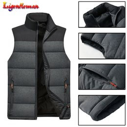 zipper vests NZ - Men's Warm Thick Coats Jacket and Men Down Mens Sleeveless Jacket Autumn Winter Casual Vests Coats Zipper Multiple pockets