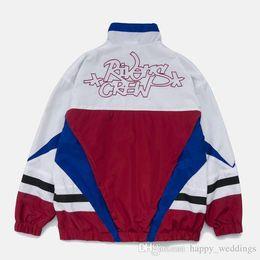 $enCountryForm.capitalKeyWord Australia - Embroidery Color Block Patchwork Windbreaker Track Jackets Nice Men Hip Hop Full Zip Streetwear Coats Male Streetwear