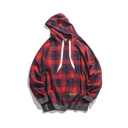 Vintage style hoodies online shopping - Japanese Style Vintage Fashion Brand Embroidery Letter Pullover Men s Hooded Sweatshirt Hip Hop Autumn Casual Plaid Male Hoodies