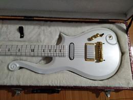 Super guitarS online shopping - Super Rare Prince Cloud White Electric Guitar Alder Body Maple Neck Wrap Around Bridge Deluxe Purple Croco Leather Hardcase White Inner