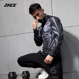 Fitness shirts online shopping - ZRCE breathable high elastic Anti fading pullover compression tops fitness cycling running sport male shirt long sleeved