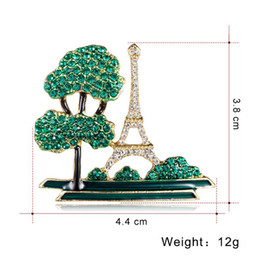 $enCountryForm.capitalKeyWord UK - New Design Full Crystal Green Tree with Eiffel Tower Brooches for Women Men Wedding Party Clothing Brooch Jewelry Accessories