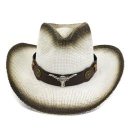 Hat Bulls Australia - Black Spray-painted Paper Straw Cowboy Hat Bull Head Leather Band Decor Men Women Large Brim Panama Jazz Sun Cap Carnival Sunhat