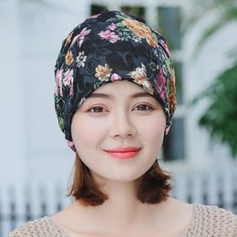 fe612e1d7f119 Female Cotton Lace Embroidery Beanies Spring And Summer Thin Section  Breathable Headscarf Hat Month Hat Cap Cross-border New