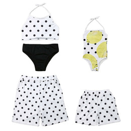 dee33a0775 Family Swimsuits UK - 2019 Summer Family Matching Swimwear Mother Father  Girls Boys Kid Polka Dot