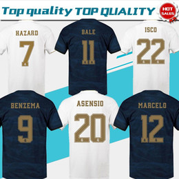 2020 Real Madrid Início branco # 7 PERIGO # 9 Benzema # 11 camisas de futebol Bale 19/20 Homens futebol camisas de distância uniformes madrid Cunstomized Futebol em Promoção