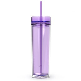 $enCountryForm.capitalKeyWord UK - 16oz Skinny Acrylic Tumbler with Lid and Straw 480ml Double Wall Clear Plastic Cup BPA Free 16oz straight water bottle Acrylic travel mug