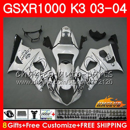 Chinese  Frame For SUZUKI GSX-R1000 GSXR 1000 GSXR1000 03 04 Body 15HC.13 Bodywork White CORONA GSX R1000 K3 GSXR-1000 03 04 2003 2004 Fairings kit manufacturers