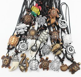 $enCountryForm.capitalKeyWord Australia - Mixed Jewelry Wholesale Lots 25pcs Imitation Yak Bone Carved Lucky Surfing Sea Turtles Pendants Necklace Mn386 Y19061703