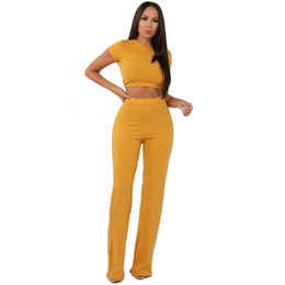 bcc8aec3ec4 Women S Yellow Jumpsuit UK - Sexy Jumpsuit Women Summer Crop Top And Long  Pants Sexy