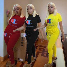 $enCountryForm.capitalKeyWord Australia - Champion Women two pieces suits Summer Outfits Short Sleeve T shirt + Pants designer Tracksuit Sportswear Sports suit Joggers Set A52705