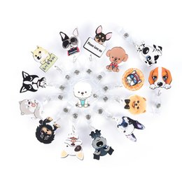 Wholesale designer card holder Cute Mini Cartoon Dog Retractable Badge Reel Nurse Exihibiton Id Name Card Badge Holder