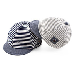 fda54fb3 Cotton Infant Baby Hats Cute Casual Striped Soft Eaves Kids Baseball Cap  Baby Boy Girls Sun Protect Hat Caps GB501
