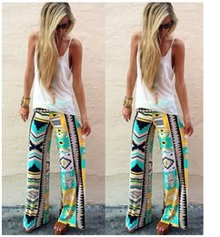 flared floral trousers Australia - Women Pant High Waist Floral Pants Flare Wide Leg Long Pants Palazzo Trousers Pant Preppy Boho Bohemian Vintage Summer loose Pants LJJA2938