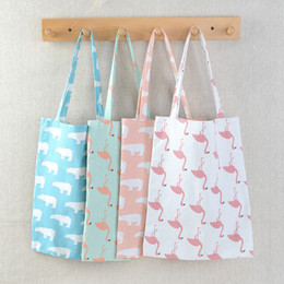 $enCountryForm.capitalKeyWord NZ - Ladies Outdoor Portable Burlap Bag Candy Colors Flamingo Ostrich Polar Bear Printing Lovely Shoulder Package Hot Sale 3 9dd I1