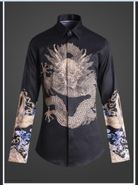 mens casual slim dragon NZ - Free Shipping 2020 New Arrival Design High Quality Chinese Dragon Style Fashion Mens Slim Popular Business Casual Long-sleeved Shirt