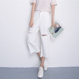 White Ripped Jeans Australia - WEIXINBUY 2019 White Loose Jeans Woman With Holes Slim Denim Pants Ripped Jeans For Women Students Stretch Capris Ladies
