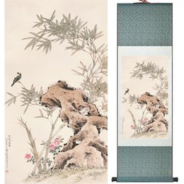 Chinese Floral Paintings Australia - Home Office Decoration Chinese Scroll Painting Birds Painting Printed Painting 052505