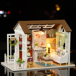 housing manufacturers Canada - DY1015X5 Diy cottage handmade model house manufacturers wholesale blue time creative gifts Educational toys puzzles music box