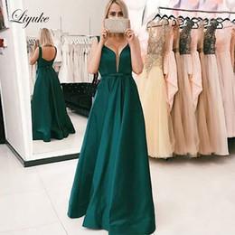$enCountryForm.capitalKeyWord UK - Dark Green V-Neck A Line Prom Dresses Tank Sleeve Backless Floor Length 2019 Formal Evening Party Gowns Custom Made Liyuke