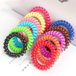 Wholesale Telephone Wire Cord Gum Hair Tie cm Girls Elastic Hair Band Ring Rope Candy Color Bracelet Stretchy Scrunchy