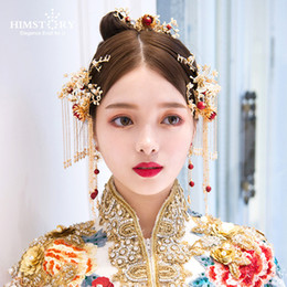 $enCountryForm.capitalKeyWord Australia - Retro Chinese Style Red Pearl Butterfly Wedding Hair Accessories Vintage Bridal Headdress Wedding Hairpins Hair Accessories C19010501