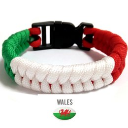 Wholesale Wales Scotland Italy France flag rugby survival paracord bracelet bangles rugby fans gifts