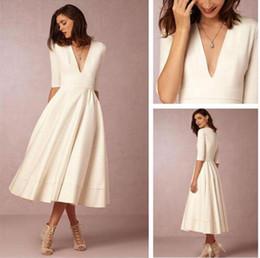 tea length elegant beach dresses 2019 - Elegant Tea-length Satin Wedding Dresses Deep V Neck A Line White Ivory 1 2 Long Sleeve Wedding Dress Short Bridal Gowns