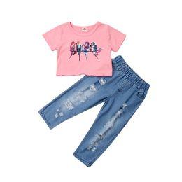 Girls Winter Short Pants UK - 2-7T Toddler Kids Baby Girl Outfits Set Birds Pink Short Sleeve Crop Tops Denim Ripped Hole Pants Summer Baby Girl Clothes