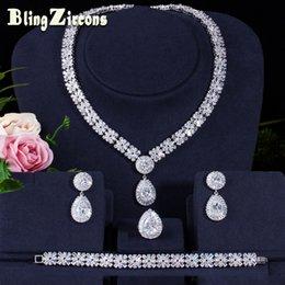 $enCountryForm.capitalKeyWord NZ - BlingZircons Exclusive 4 Pieces Cubic Zirconia Women Wedding Jewellery Earrings Necklace Bracelet Ring Bridal Jewelry Sets JS160