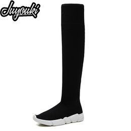 f4cfcb457 Juyouki Women s Over The Knee Boots Long Shoes Girls 2019 New Thin Elastic  High Women s Boots Flats Wild Sexy Socks Shoes