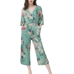 $enCountryForm.capitalKeyWord Australia - 2018 women's floral print romper jumpsuits & rompers printed-belted-jumpsuit- female capris overalls catsuit