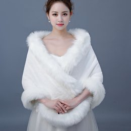 Discount prom wraps jacket shawl - New Simple Bridal Wraps Faux Fur Shawl Jackets One Size For Wedding Prom Ivory Winter Warm Bridesmaid Bolero Hot Sale 20