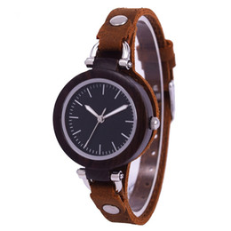 Wooden Gift Tags Australia - 2019 New Design Top Brand Female Clock Wooden Watch Women Wristwatch Brown Small Leather Quartz Lady Bamboo Wood Watches for Gift
