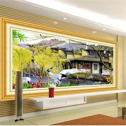 Discount 3d wall sticker water - custom size 3d photo wallpaper living room mural South China Water Town Scenery 3d picture sofa TV backdrop wallpaper no
