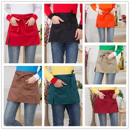 work uniforms wholesale UK - Saingace Waist Short Apron Hotels Restaurant Cafe Waiters and Waitresses Uniforms New Kitchen Restaurant Work Solid Aprons #45