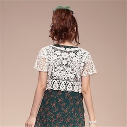 $enCountryForm.capitalKeyWord Australia - Ladies White Lace Blouse Summer Cardigan Coat Black Small Shawl Thin Hollow Crochet Sexy Female Blouse Shirt